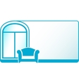 armchair and glossy window on blue background vector image