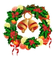 Christmas wreath with bells fruit and holly vector image