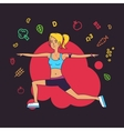 fit young woman in sportswear Fitness life poster vector image