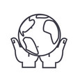 global business in hands linear icon sign symbol vector image