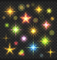 glowing stars flares set vector image