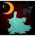 Set for Halloween moon ghost cat vector image