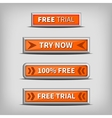try now and free trial on 3d orange buttons vector image