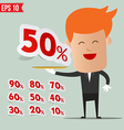 Waiter serving sale label tag - - EPS10 vector image