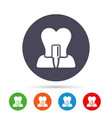 tooth implant sign icon dental care symbol vector image
