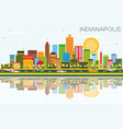 indianapolis skyline with color buildings blue vector image