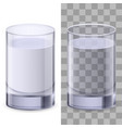 two realistic glasses of water on white vector image vector image