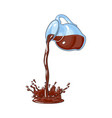 chocolate milk cocoa drink pouring from jar vector image