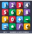 Flat Numbers and Mathematical Symbols vector image vector image