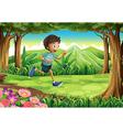 A boy running at the jungle vector image vector image