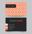Business card template orange and white pattern vector image