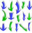 arrows stickers different colors and shapes vector image vector image