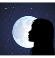 silhouette of a girl and the moon vector image