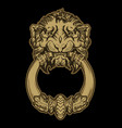 gold lion head door knocker on black background vector image