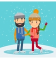 Happy winter time Young couple skates vector image