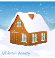 image of the wooden house covered with snow vector image