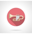 Orchestral trumpet color flat round icon vector image