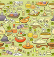 seamless pattern of hand drawn colorful spa vector image