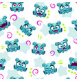 seamless pattern with funny blue alien character vector image