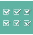 Set of six different white check marks or vector image
