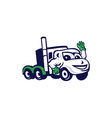 Semi Truck Rig Waving Cartoon vector image