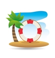 tropical vacation beach life buoy icon vector image