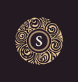 calligraphic floral baroque monogram emblem s vector image vector image