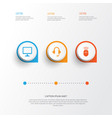 Digital icons set collection of earphone desktop vector image