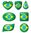 Brazilian Flag in various shape glossy button vector image