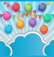 balloon and party flags sky background vector image