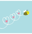 Cute flying bee Three hearts in the sky Greeting vector image