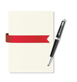 exercise book in a cage pen red ribbon vector image