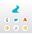 flat icon ecology set of tributary pond cattail vector image