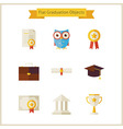 Flat School Graduation and Success Objects Set vector image