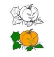 Hand drawn doodle Halloween pampkin Black pen vector image