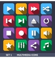 Multimedia Icons With Long Shadow vector image