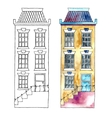 Watercolor cartoon buildings vector image