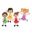 Group of happy girls cartoon kids vector image
