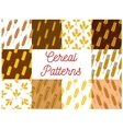 Wheat rye and barley ears seamless patterns set vector image vector image