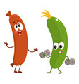 funny food characters zuccini versus sausage vector image