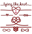 tying the knot rope hearts set vector image vector image