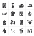 Black Washing machine and laundry icons vector image vector image