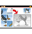 Cartoon penguin jigsaw puzzle game vector image
