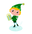 ice skating elf vector image