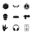 rock icon set simple style vector image