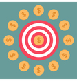 Target and dollar coins Flat design vector image