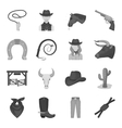 Rodeo set icons in monochrome style Big vector image