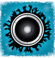 loudspeaker and crowd on blue background vector image vector image