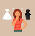 young girl chooses dress vector image