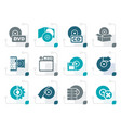 stylized computer media and disk icons vector image